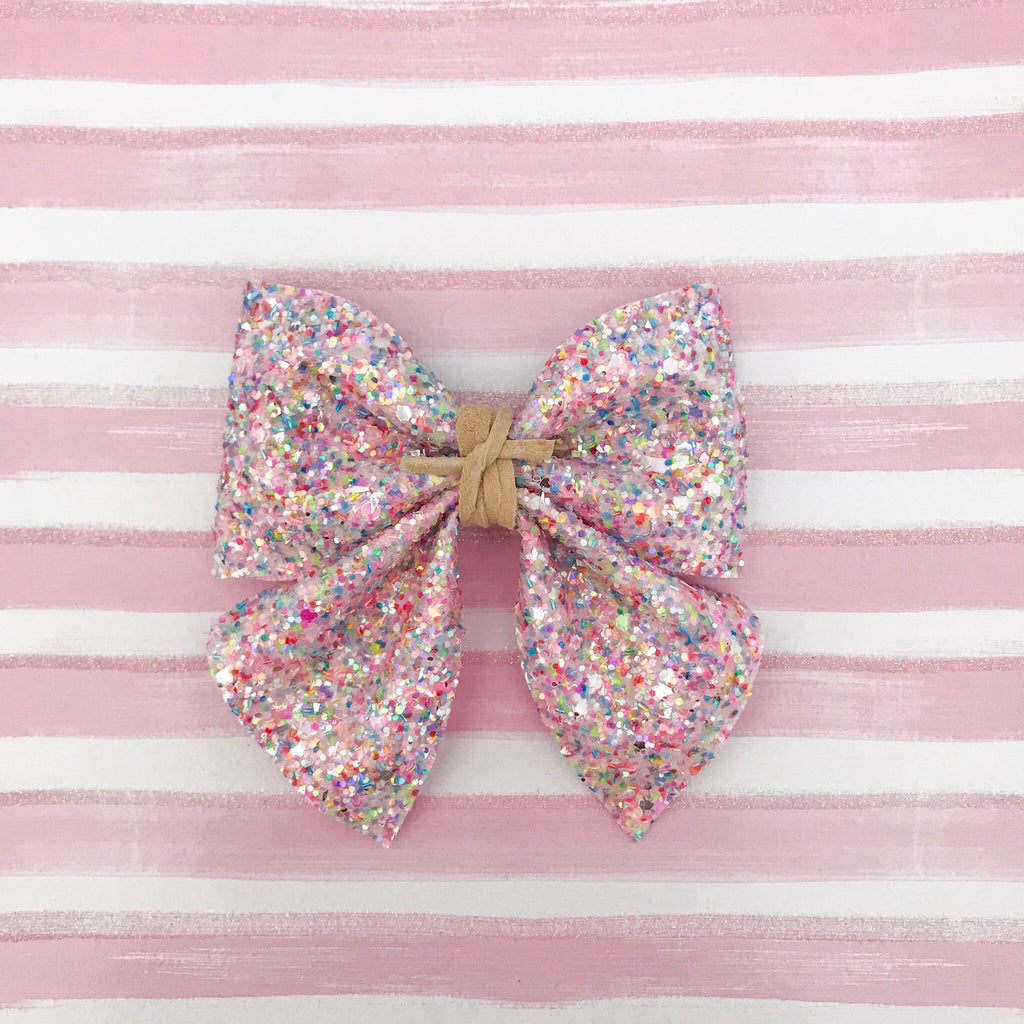 SADIE BOW // pretty in pink glitter