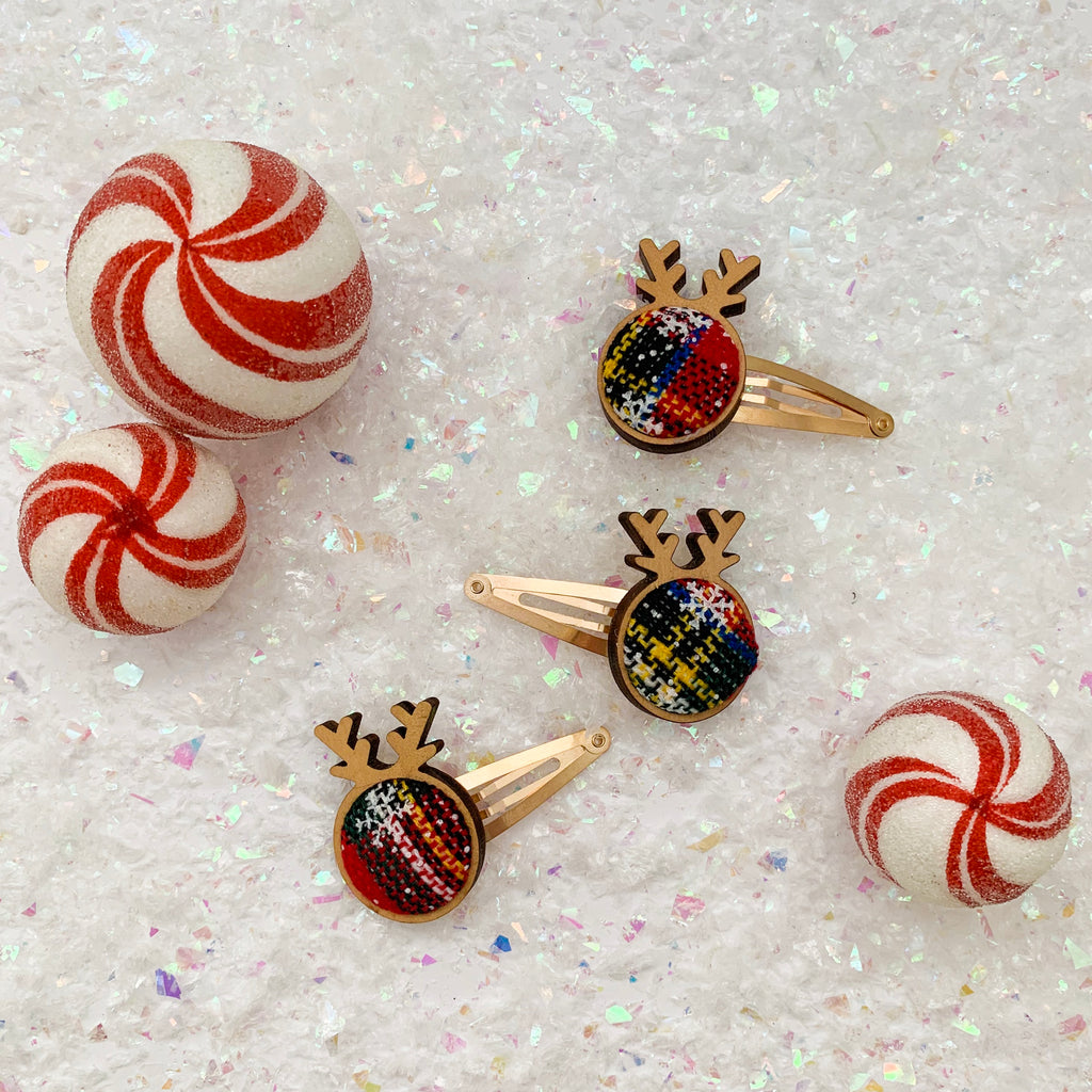 SNAP CLIPS // wooden reindeer • multicolor plaid