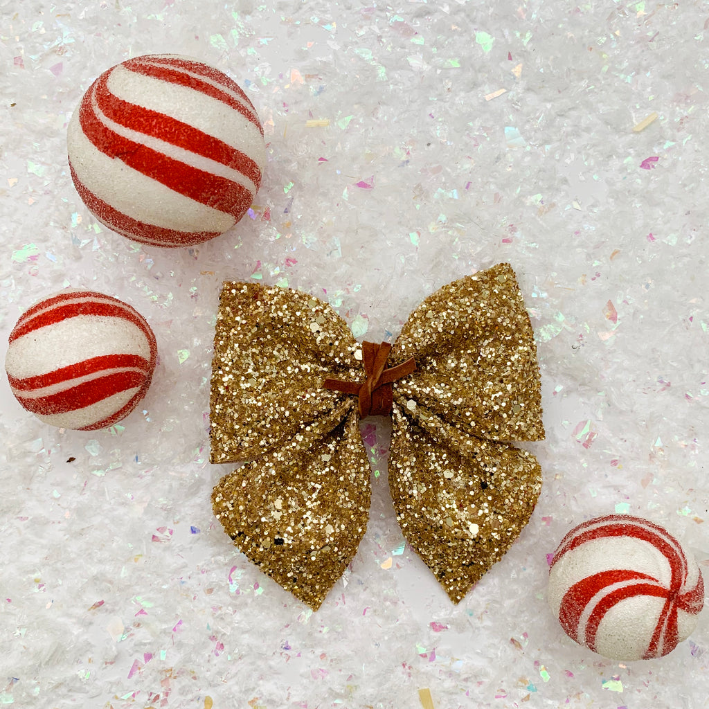 SADIE BOW // holiday gold glitter