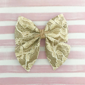 SADIE BOW // gold glitter + lace