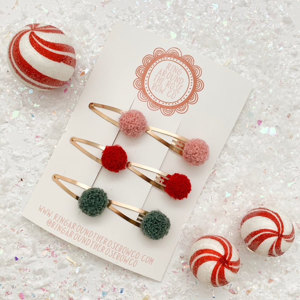 SNAP CLIPS // mini poms • set of 6