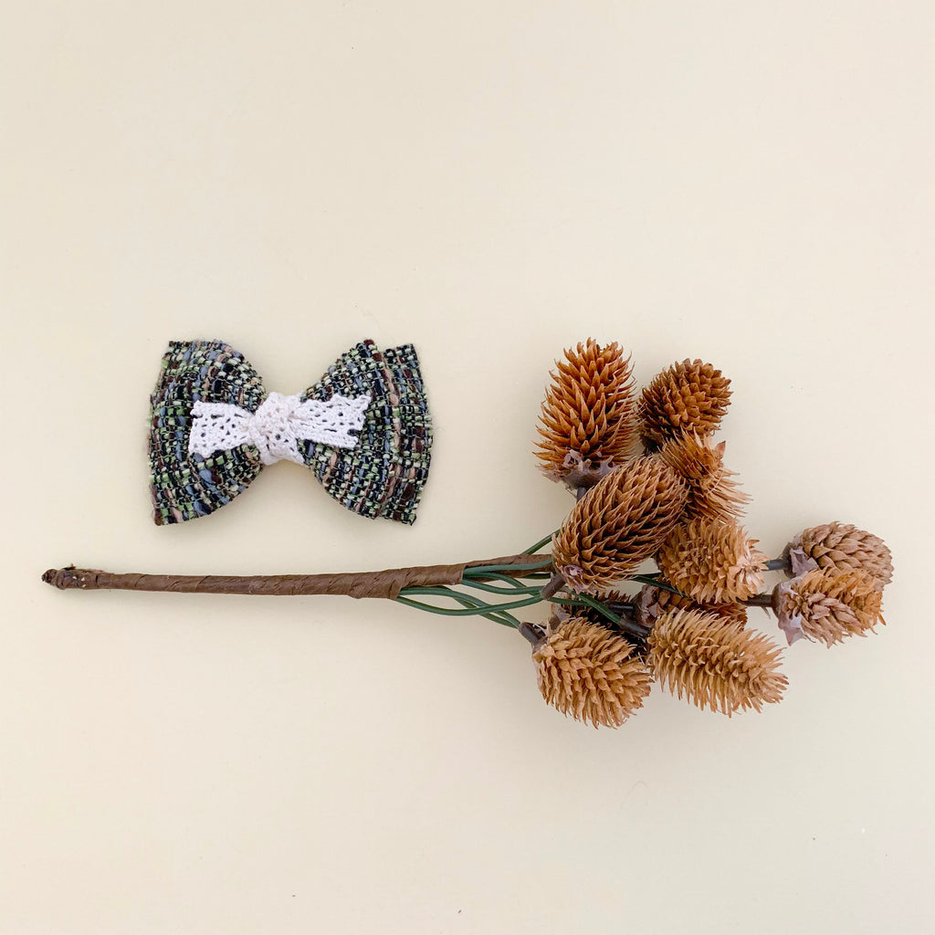 PHOENIX BOW // olive tweed + lace