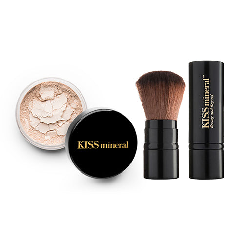 KISS Mineral Trial Kit | Premium Mineral Foundation and Premium Face Brush