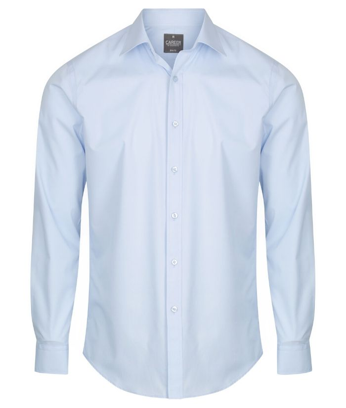 Nicholson Mens Premium Poplin Long Sleeve Shirt. 1520L Colours: Black, Navy, SIlver, Sky, Star White, Charcoal, French Blue. Sizes: 37 - 50cm Neck