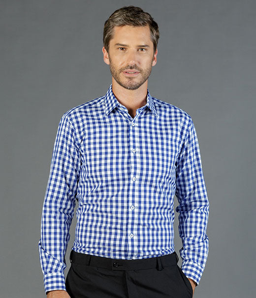 mens-long-sleeve-check-shirts-Degraves Royal Oxford Check Mens L/S Shirt-1710l
