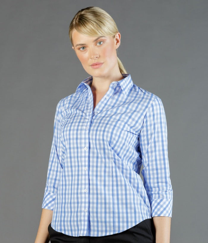 womens-check-3/4-sleeve-shirts-Foxton Tonal Check Long Sleeve Womens Shirt-1711wl