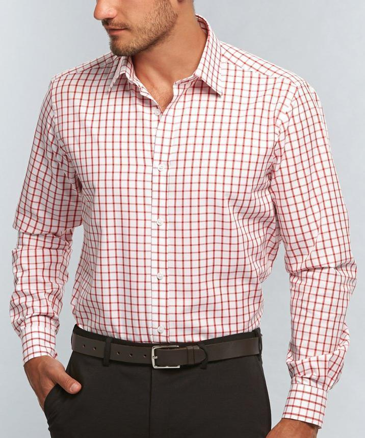 Oxford Check Mens L/S Shirt-1712l-career-by-gloweave