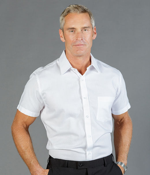Ultimate White Short Sleeve Mens Shirt - Slim Fit-1908s