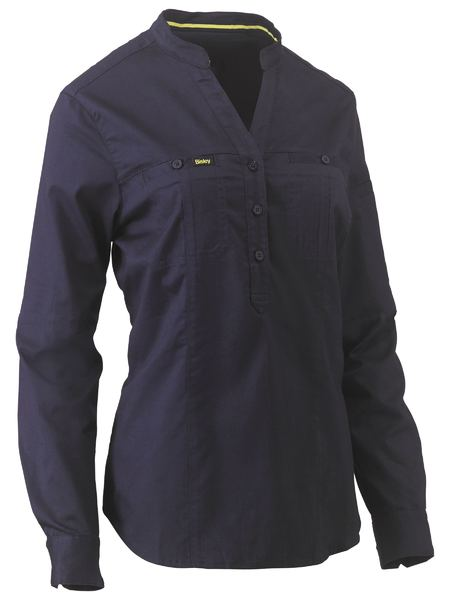 womens-work-shirt-bisley-long-sleeves-100%-cotton-navy