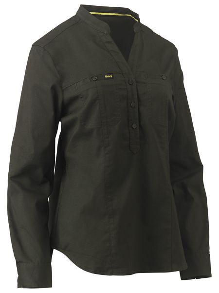 Bisley womens v-neck, stretch, closed front, long sleeve work shirt. Colours: Stone, Navy, Olive.