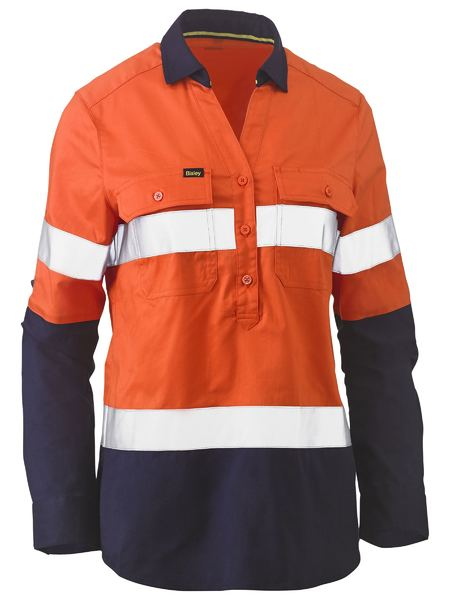Bisley Womens Hi Vis Taped Stretch Shirt - Orange/Navy