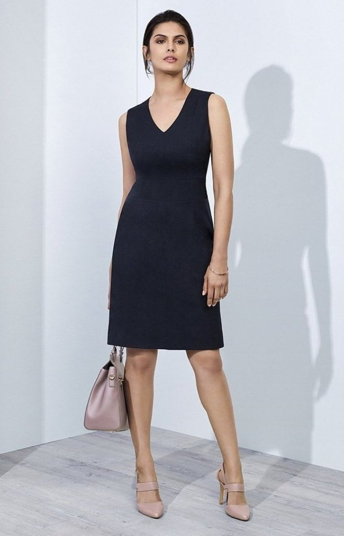 dresses-30121-Ladies-Sleeveless-V-Neck-Dress-office-uniform