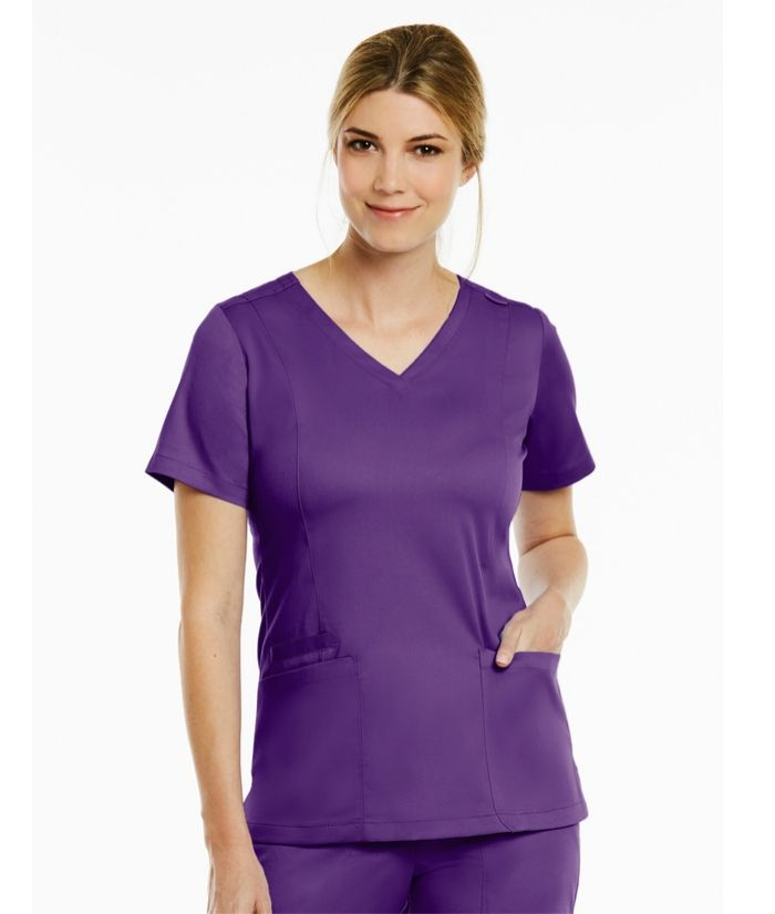 matrix-beauty-therapy-tunic-maevn-v-neck-eggplant-scrub-top-vets-nurses
