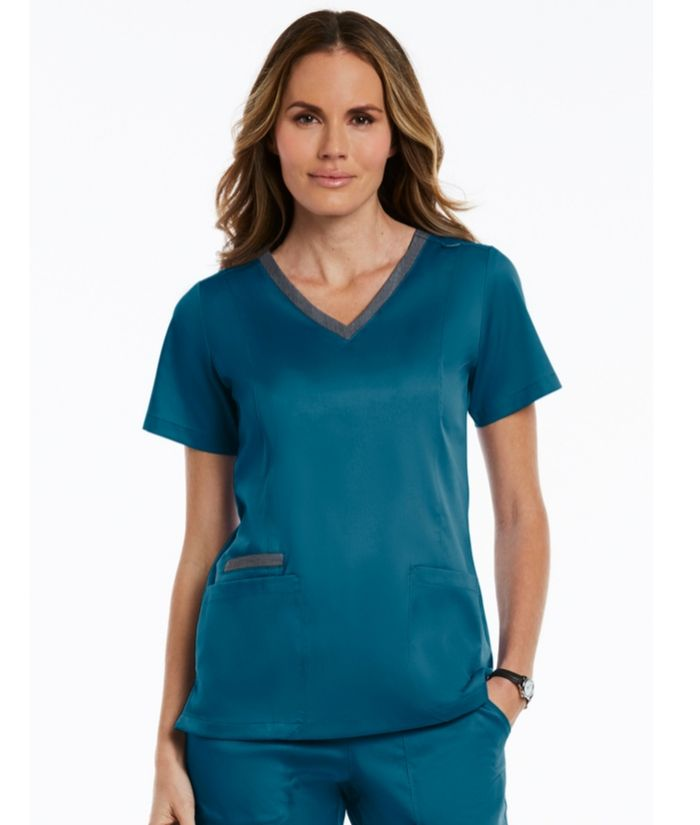 contrast, double v-neck-caribbean-blue-scrub-top. Uniform vets, nurses, beauty therapists