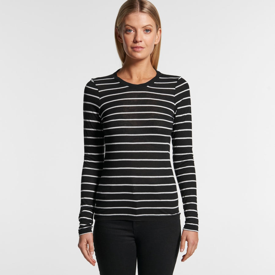 Womens Fine Strip L/S Tee-4027-as-colour