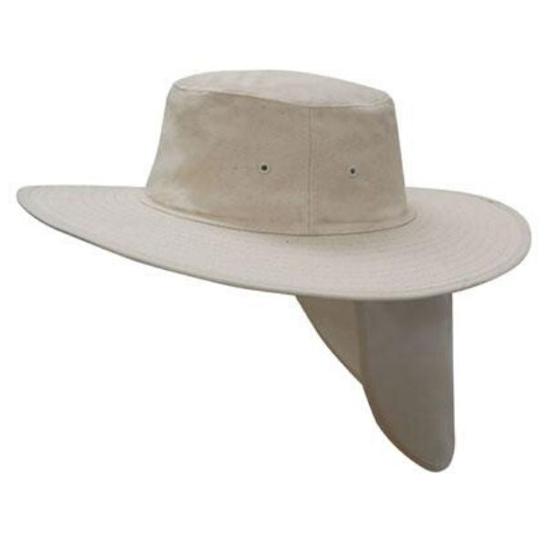 Headwear wide brim canvas hat with sun protection flap. Navy