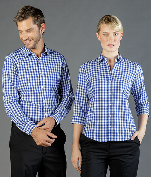 womens-check-shirts-nz-Degraves Royal Oxford Check Womens 3/4 Sleeve Shirt-1710wl