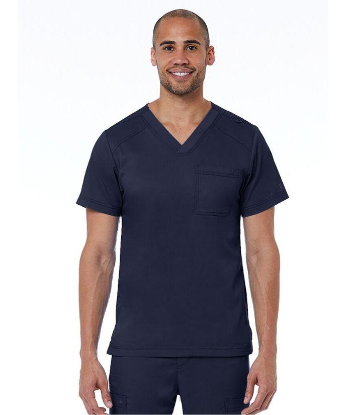 mens uniform scrub top, navy blue. V-neck, three pockets. stretch fabric.