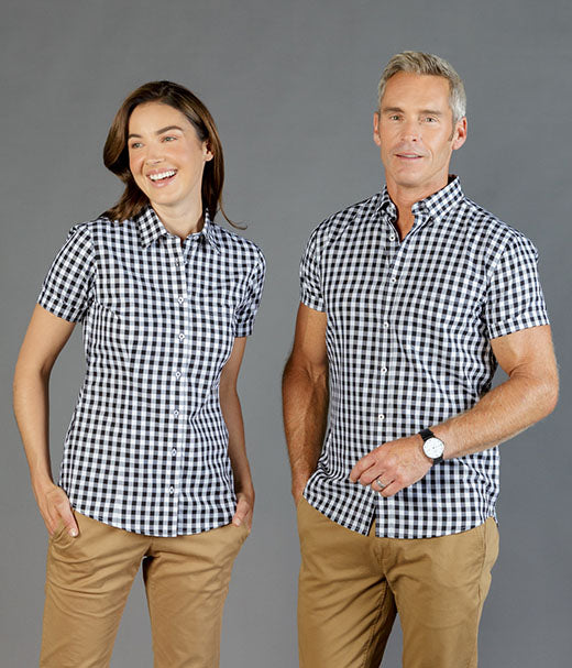 womens-check-shirts-Degraves Royal Oxford Check Short Sleeve Shirt-1710whs