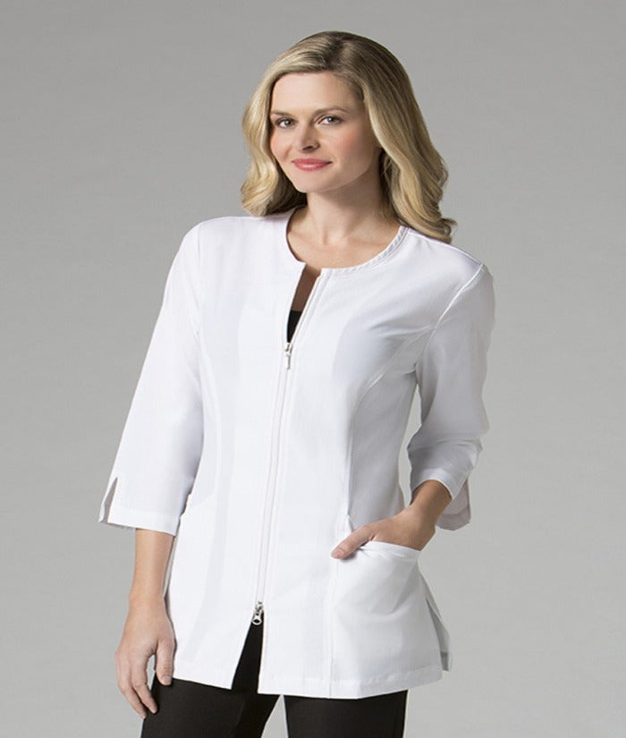 womans ladies 3/4 Sleeve Lab Jacket coat smart zip front style white