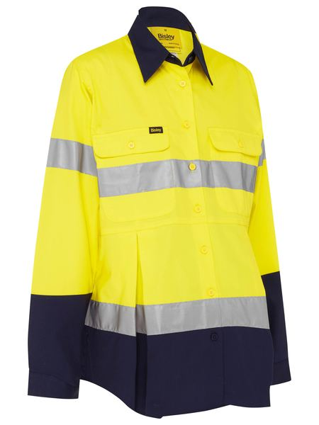 womans uniform maternity pregnancy hi vis taped shirt yellow navy 100% cotton