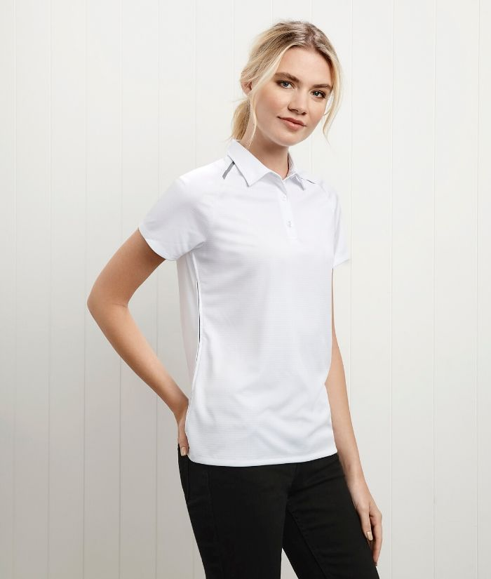Academy biz collection polo. Womens. Short Sleeve, White P012LS