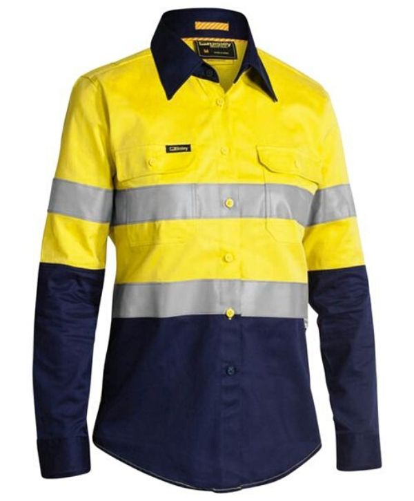 Bisley, Taped, 2 Tone, Womens Hi Vis Industrial Vented Shirt. BL6448T Yellow/Navy