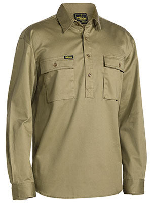 Bisley Closed Front Drill Long Sleeve Shirt-BSC6433
