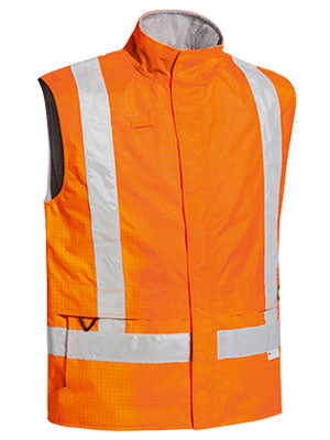 hi vis taped wet weather lined vest zip front orange or yellow