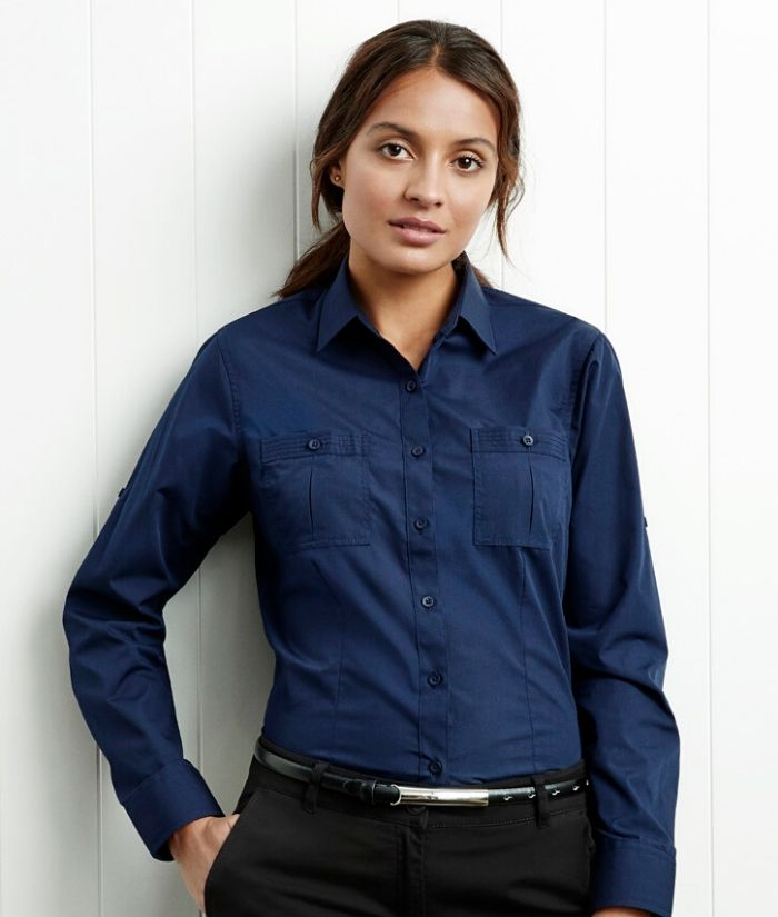 Biz Collection Ladies Long Sleeve Bondi Shirt. Navy S306LL