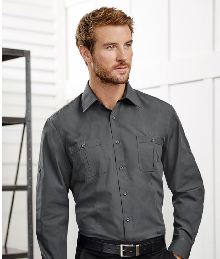 Biz Collection Mens Bondi Long Sleeve Shirt Code: S306ML Charcoal