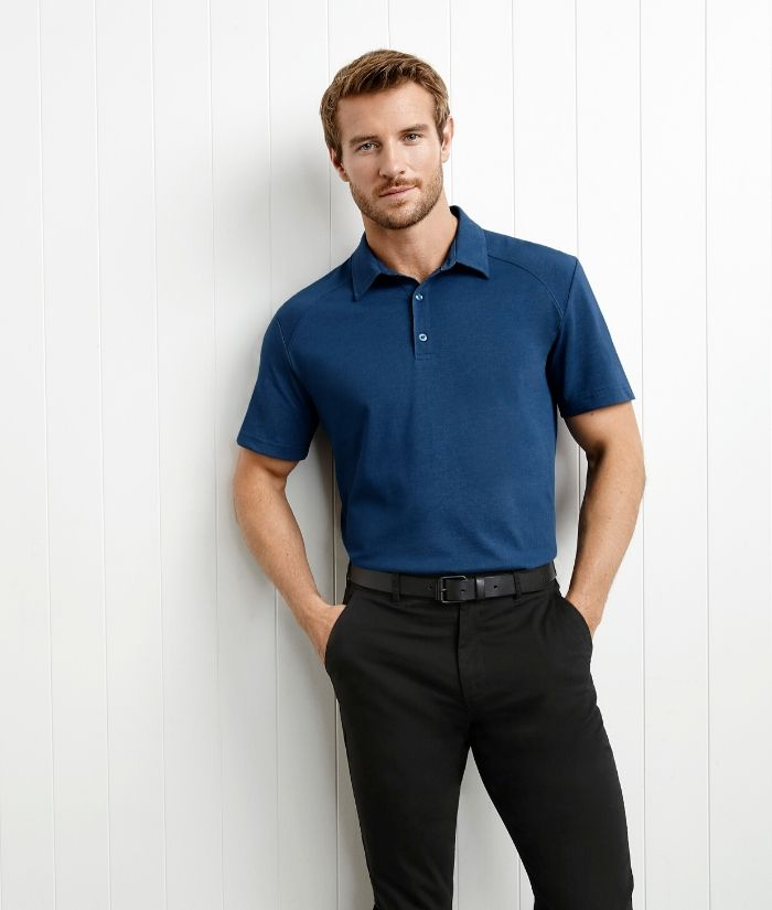 Biz Collection Byron Mens Short Sleeve Polo. Colour Steel Blue Style P011MS