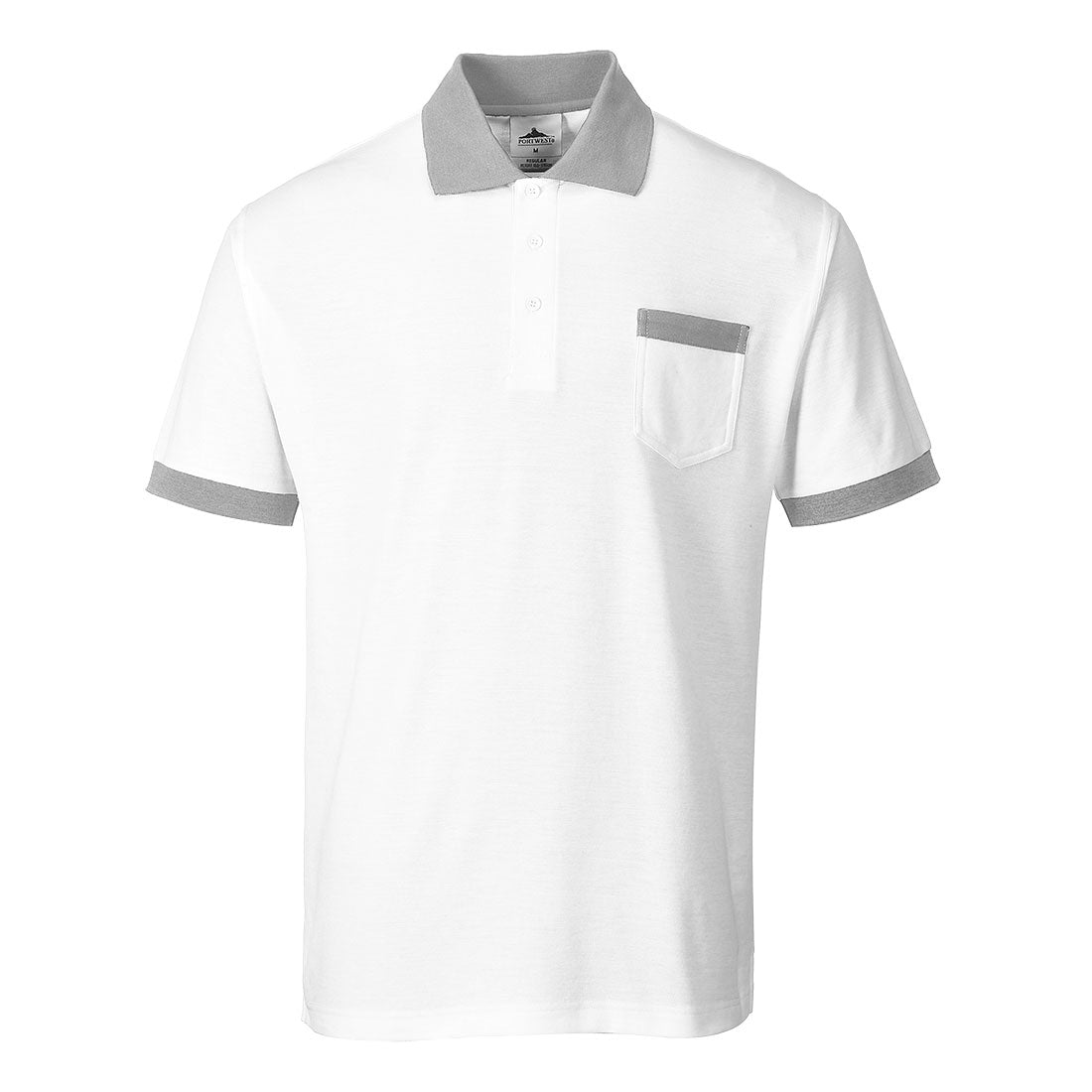 Painters whites Painter Pro Polo. Colour: White/Grey. Sizes: S - 2XL. Prime Mover Port West