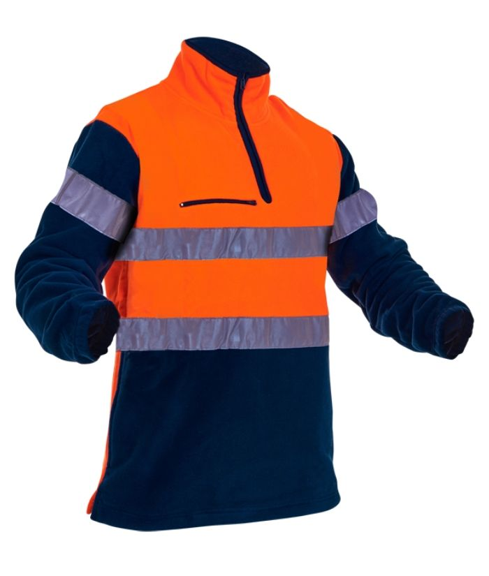 Caution-hi-vis-hoop-taped-polar-fleece-1/4-zip-fleece-PCF1013