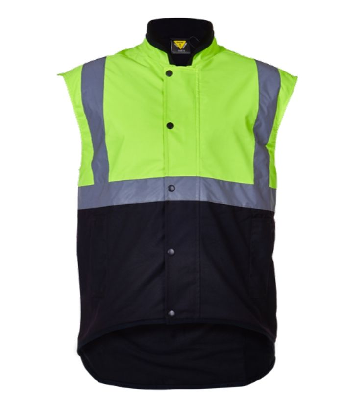caution-day-night-oilskin-vest-fleece-lined-PCO1340-yellow-brown