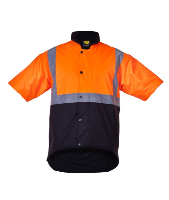 caution-day-night-short-sleeve-oilskin-vest-PCO1350-yellow-brown