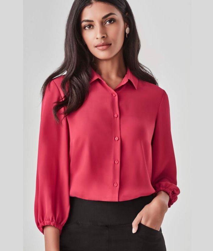 womans-corporate-blouse-shirt-uniform-3/4-sleeve-raspberry-