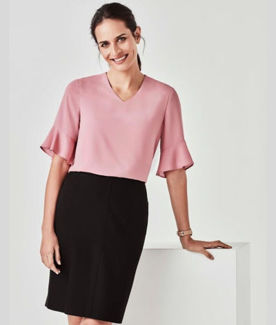 womans-aria-flared-sleeve-top-drapey-shirt-corporate-uniform