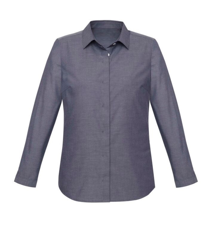 womans-womens-chambray-lomg-sleeve-shirt-biz-corporate-cotton