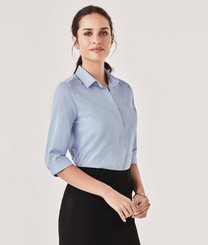 womans-womens-chambray-3/4-sleeve-shirt-biz-corporate-cotton