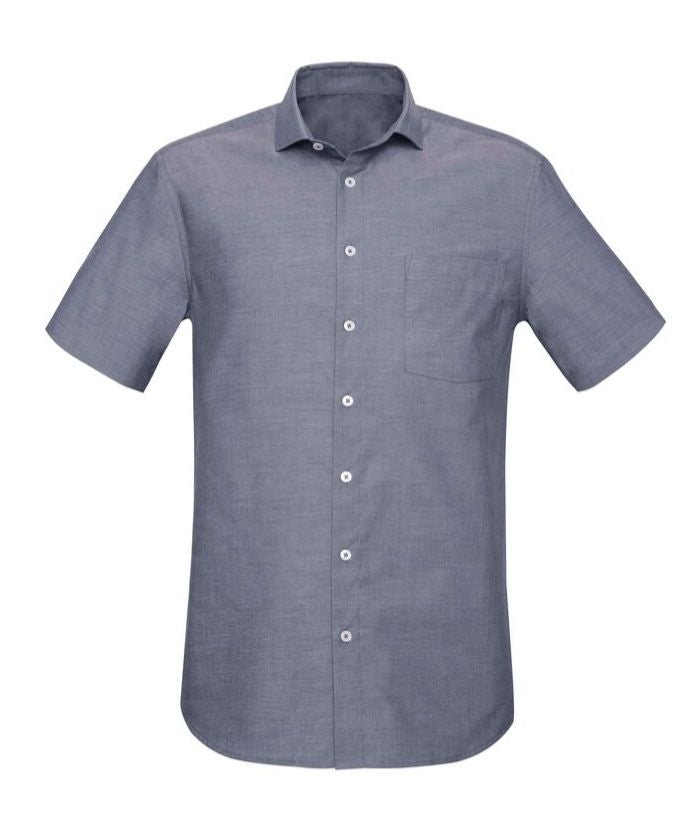 mens's-short-sleeve-chambray-shirt-cotton-rich