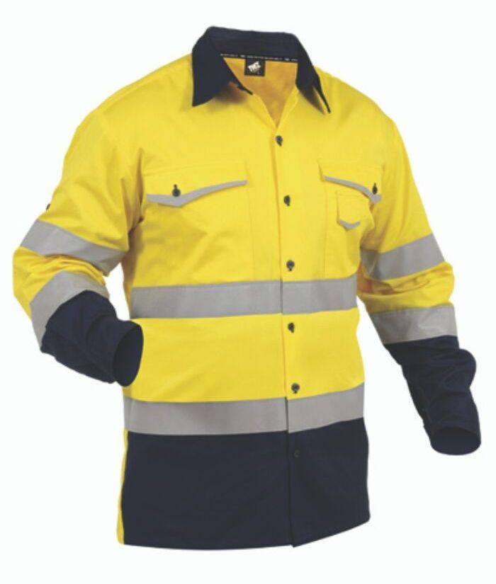 industrial-tradie-shirt-roll-up-sleeves-hi-vis-yellow-navy-cotton