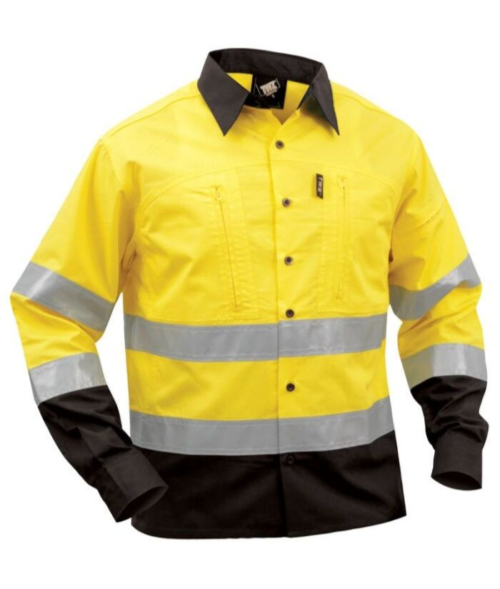ripstop-tradie-trades-uniforms-shirt-yellow-black-long-sleeve-industrial
