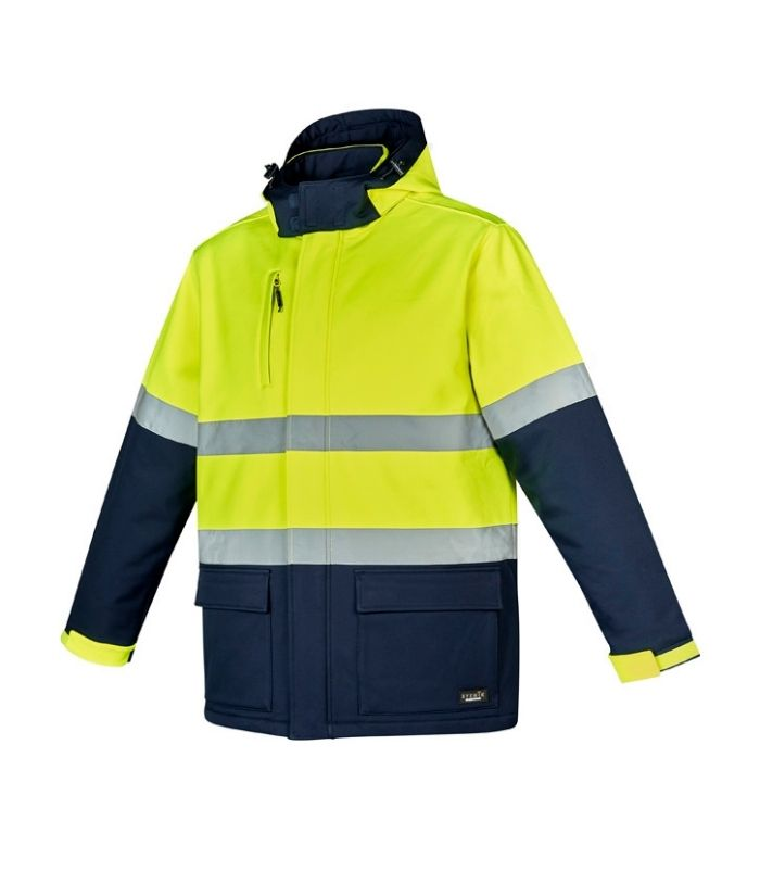 Syzmik-Unisex-Hi-Vis-Antartic-Softshell-Taped-Jacket-ZJ553-orange-navy