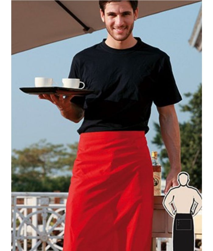 3/4 waist apron no pocket red black uniform for cafes, bars, restaurants