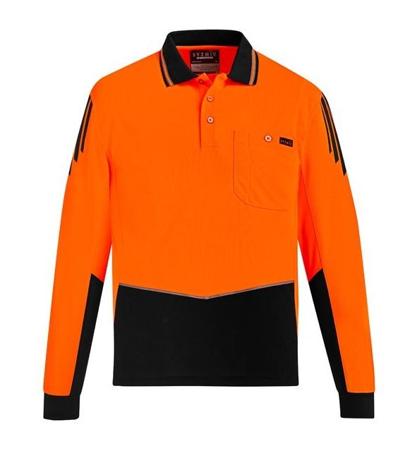 Mens Hi Vi Flux Long Sleeve Polo-zh310-syzmic