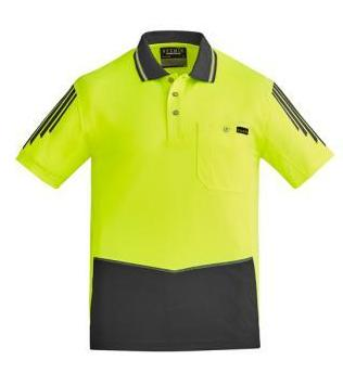 Mens Hi Vi Flux Short Sleeve Polo-zh315-syzmic
