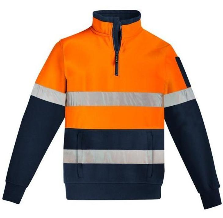 Mens-Hi-Viz-1/4-Zip-Pullover-Hoop-Taped-ZT566-SYZMIK