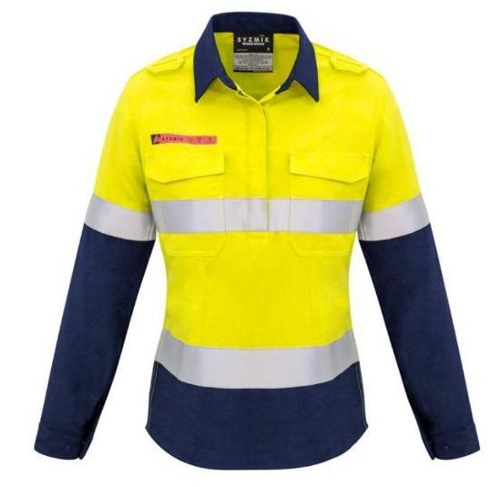 2c3366c9523b workwear-shirts-zw131-Womens FR Closed Front Hooped Taped Spliced Shirt