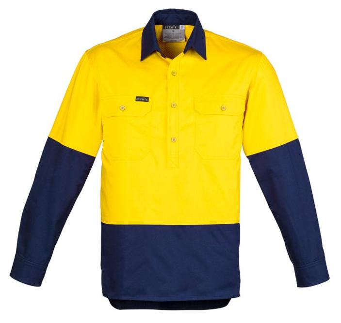 Mens Hi Vis Closed Front L/S Shirt